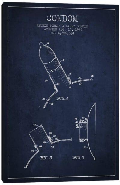 Condom Navy Blue Patent Blueprint Canvas Art Print