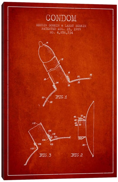 Condom Red Patent Blueprint Canvas Art Print