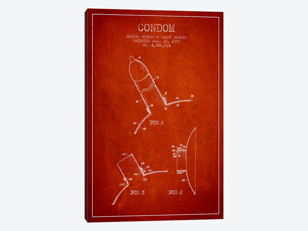 Condom Red Patent Blueprint 1-piece Canvas Print