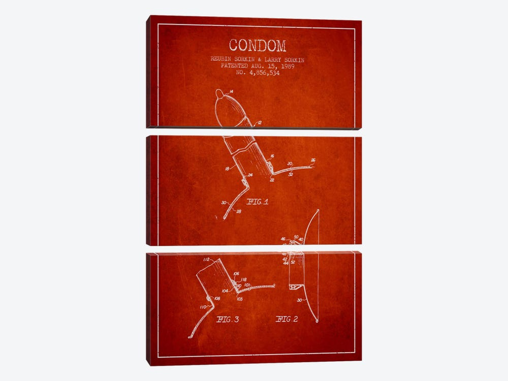 Condom Red Patent Blueprint by Aged Pixel 3-piece Canvas Print