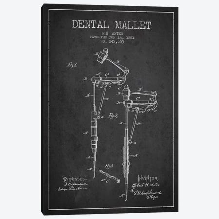 Dental Mallet Charcoal Patent Blueprint Canvas Print #ADP1895} by Aged Pixel Canvas Wall Art