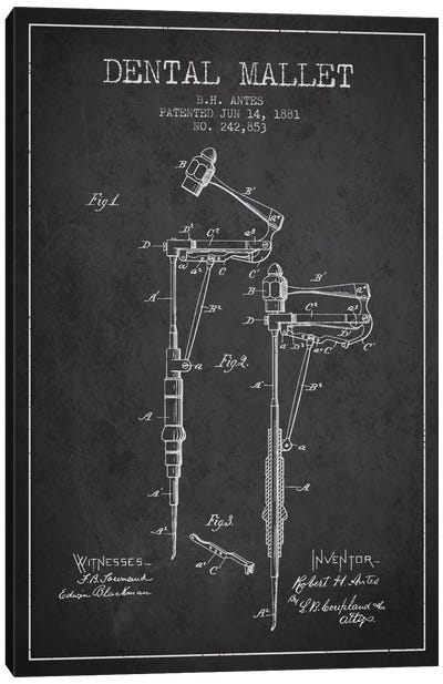 Dental Mallet Charcoal Patent Blueprint Canvas Art Print