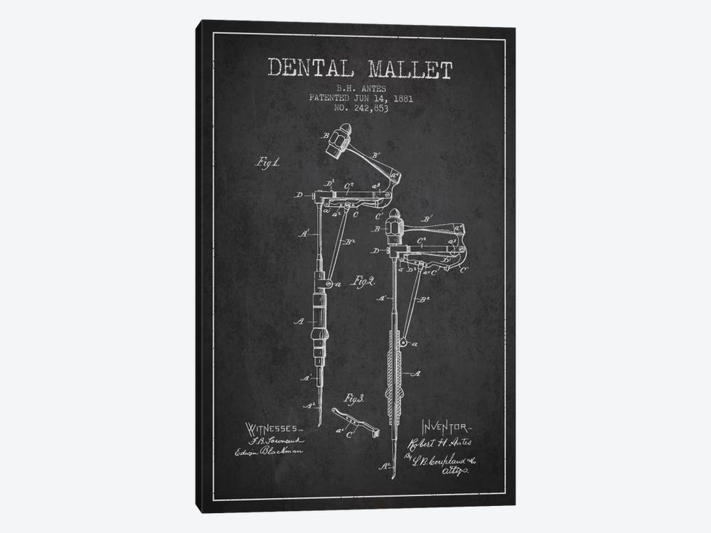 Dental Mallet Charcoal Patent Blueprint by Aged Pixel 1-piece Canvas Print