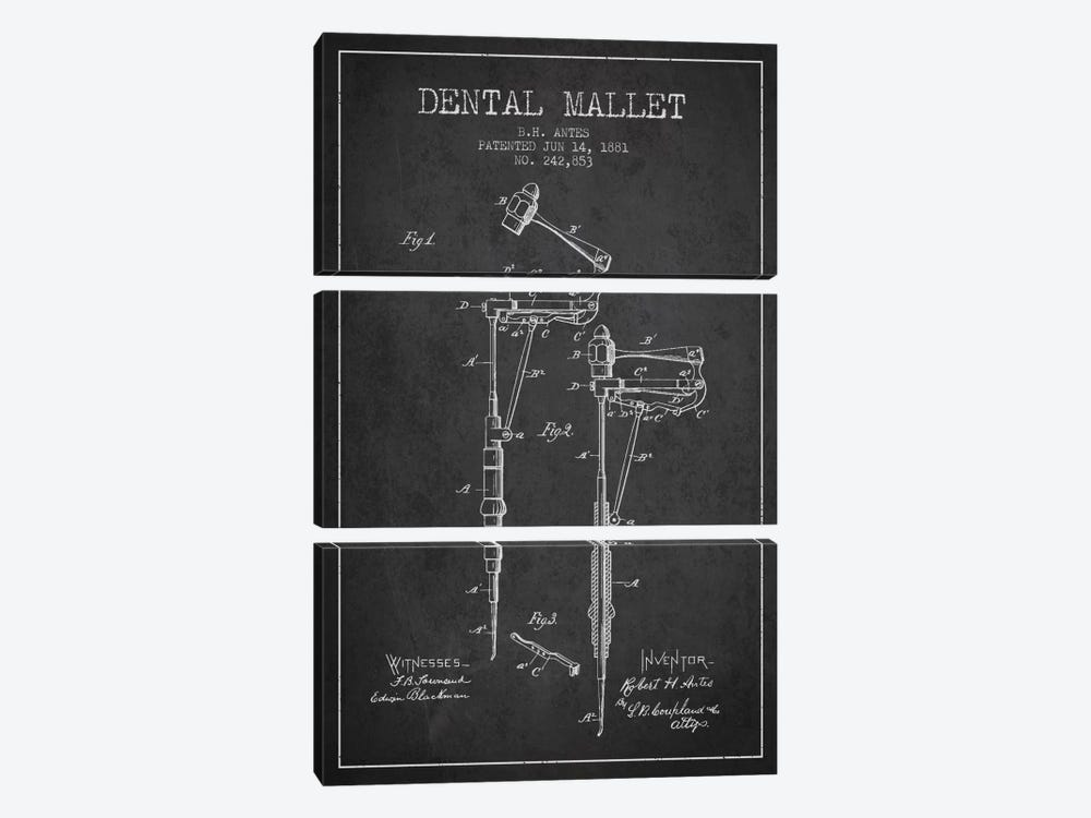 Dental Mallet Charcoal Patent Blueprint by Aged Pixel 3-piece Canvas Art Print