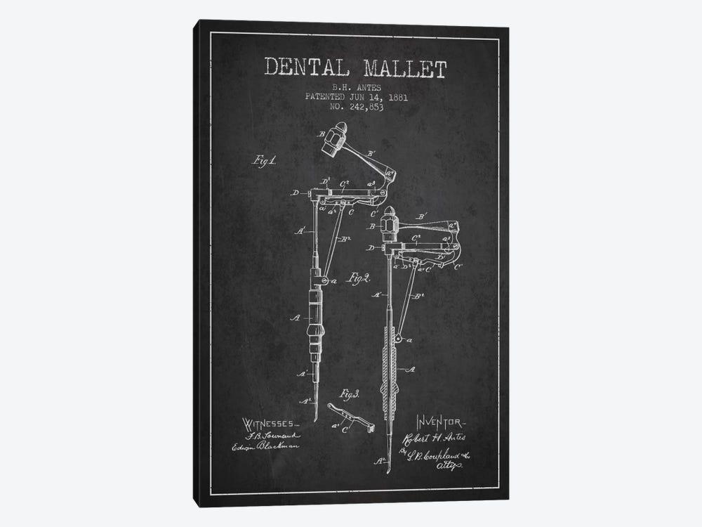 Dental Mallet Charcoal Patent Blueprint by Aged Pixel 1-piece Canvas Print