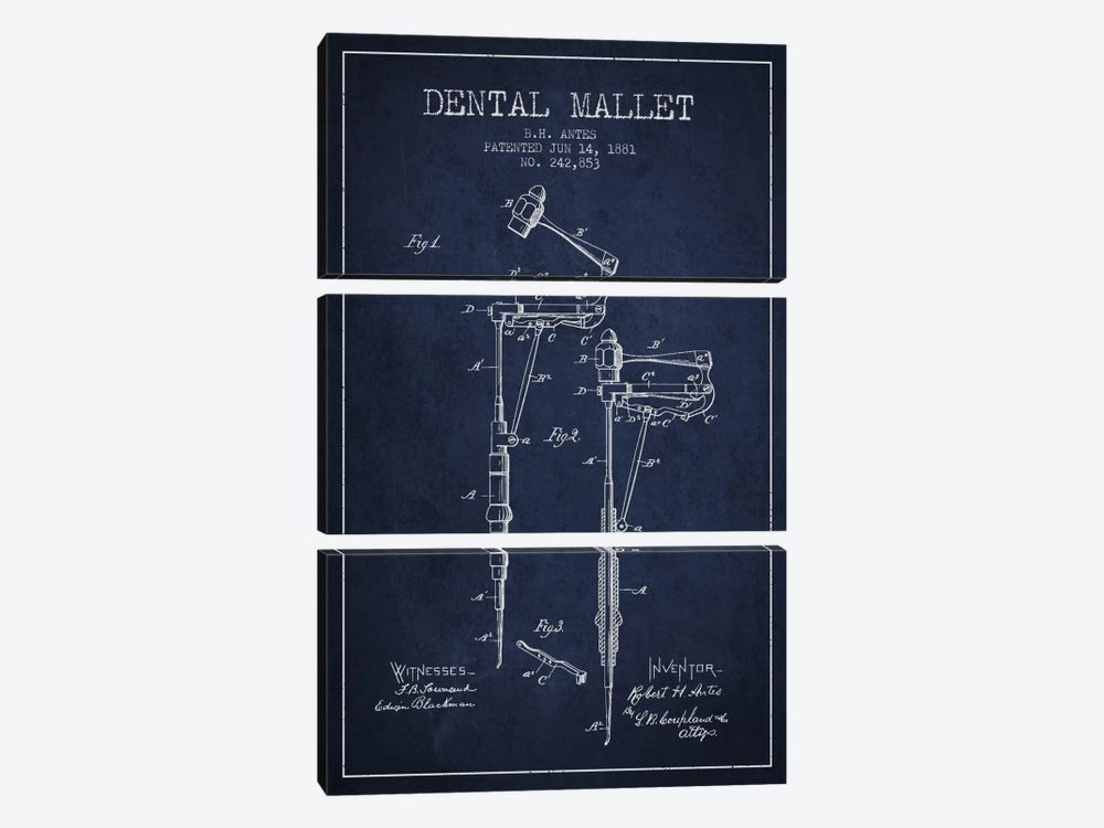 Dental Mallet Navy Blue Patent Blueprint by Aged Pixel 3-piece Canvas Art Print