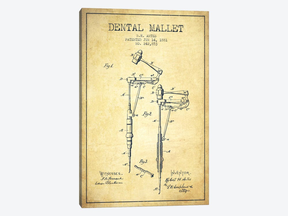 Dental Mallet Vintage Patent Blueprint by Aged Pixel 1-piece Canvas Art Print