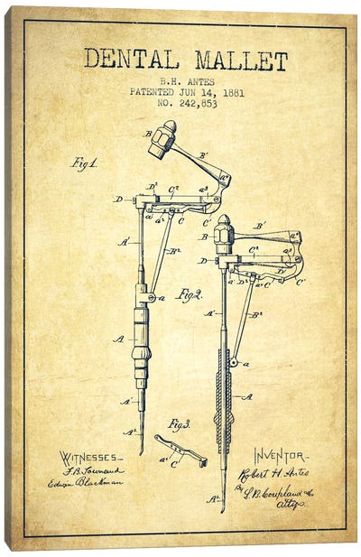 Dental Mallet Vintage Patent Blueprint Canvas Art Print