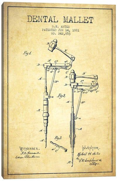 Dental Mallet Vintage Patent Blueprint Canvas Art Print