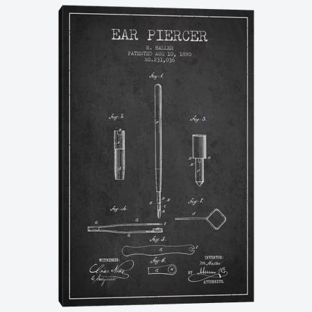 Ear Piercer Charcoal Patent Blueprint Canvas Print #ADP1900} by Aged Pixel Art Print
