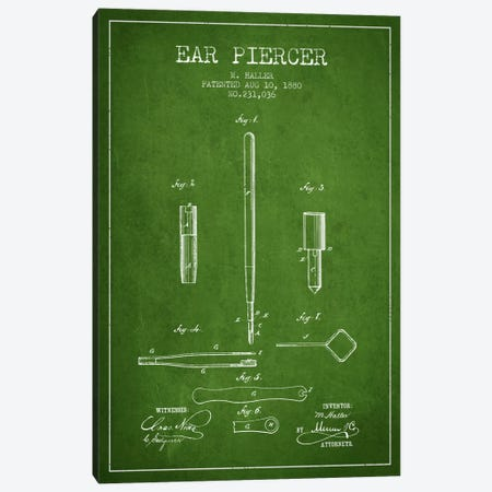 Ear Piercer Green Patent Blueprint Canvas Print #ADP1901} by Aged Pixel Art Print