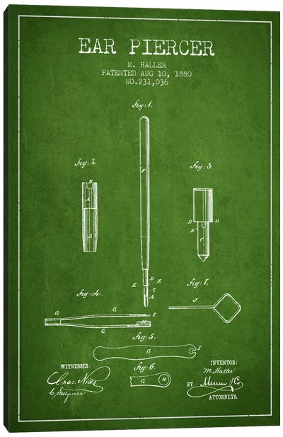 Ear Piercer Green Patent Blueprint Canvas Art Print