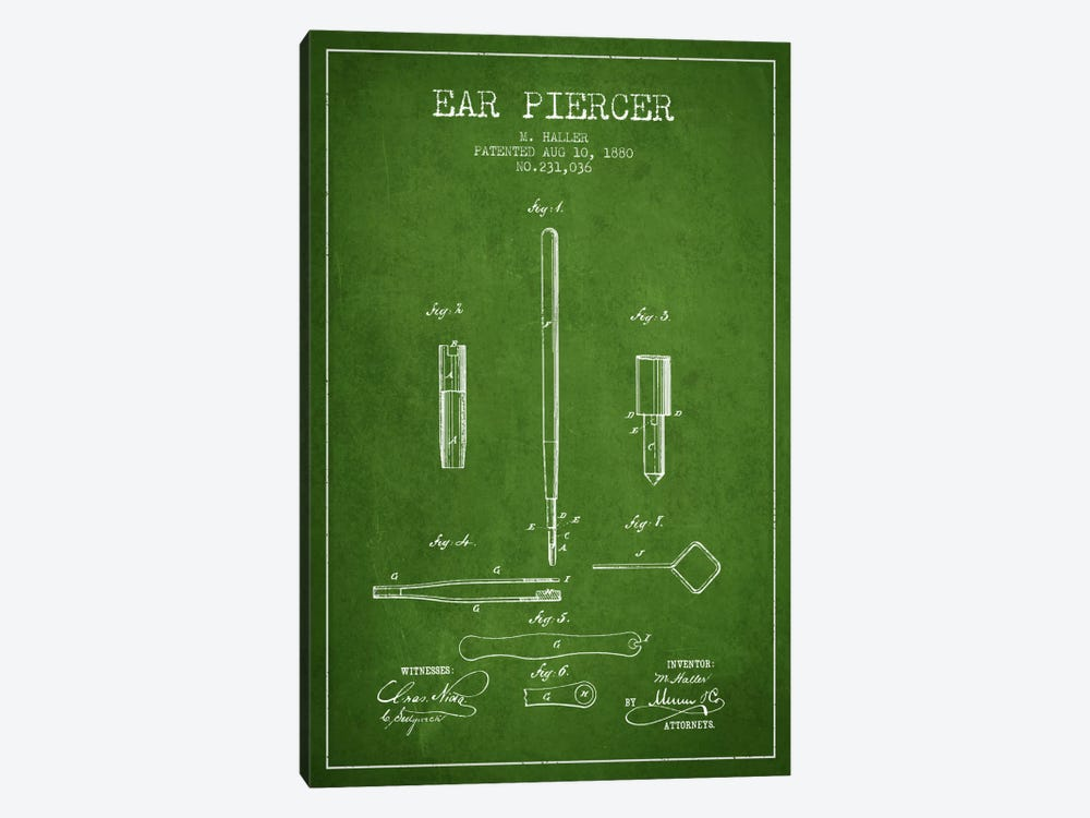 Ear Piercer Green Patent Blueprint by Aged Pixel 1-piece Canvas Print