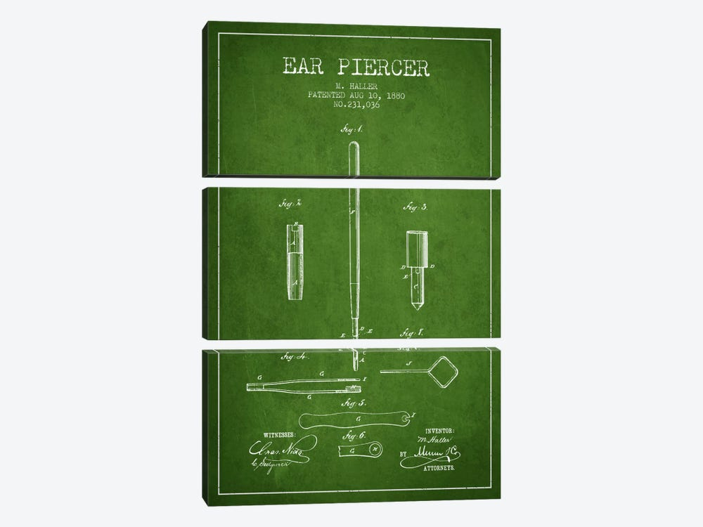 Ear Piercer Green Patent Blueprint by Aged Pixel 3-piece Canvas Art Print