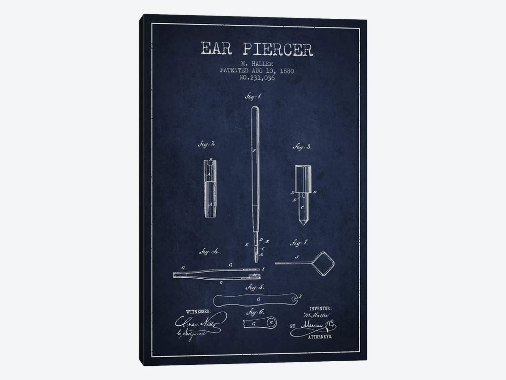 Ear Navy Blue Patent Blueprint by Aged Pixel 1-piece Canvas Artwork