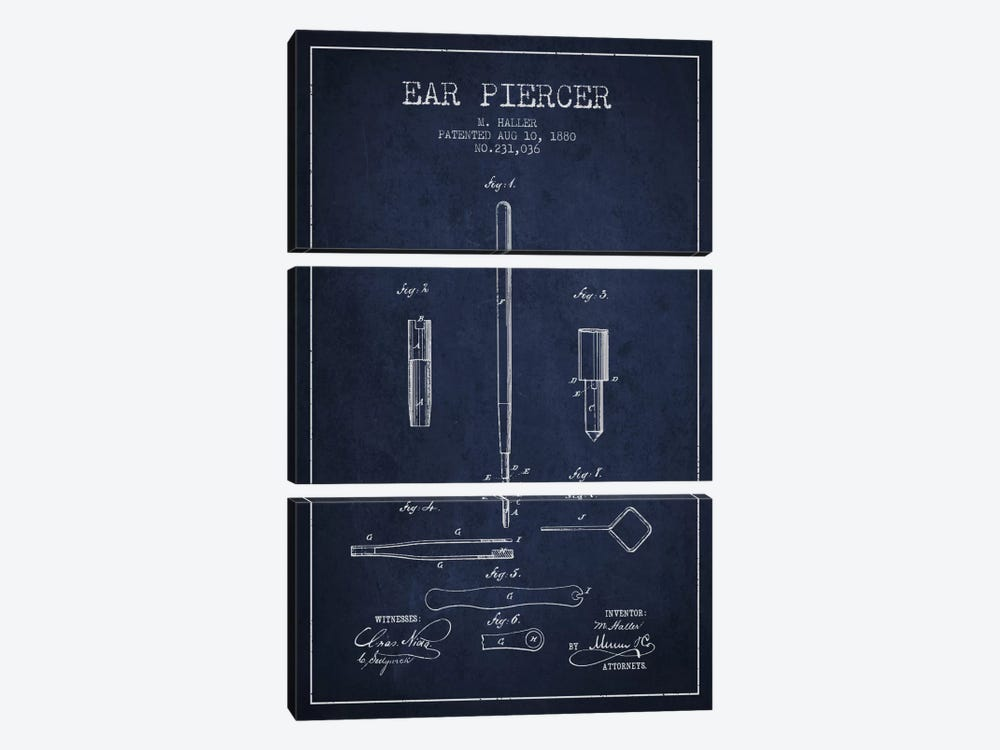 Ear Navy Blue Patent Blueprint by Aged Pixel 3-piece Canvas Artwork