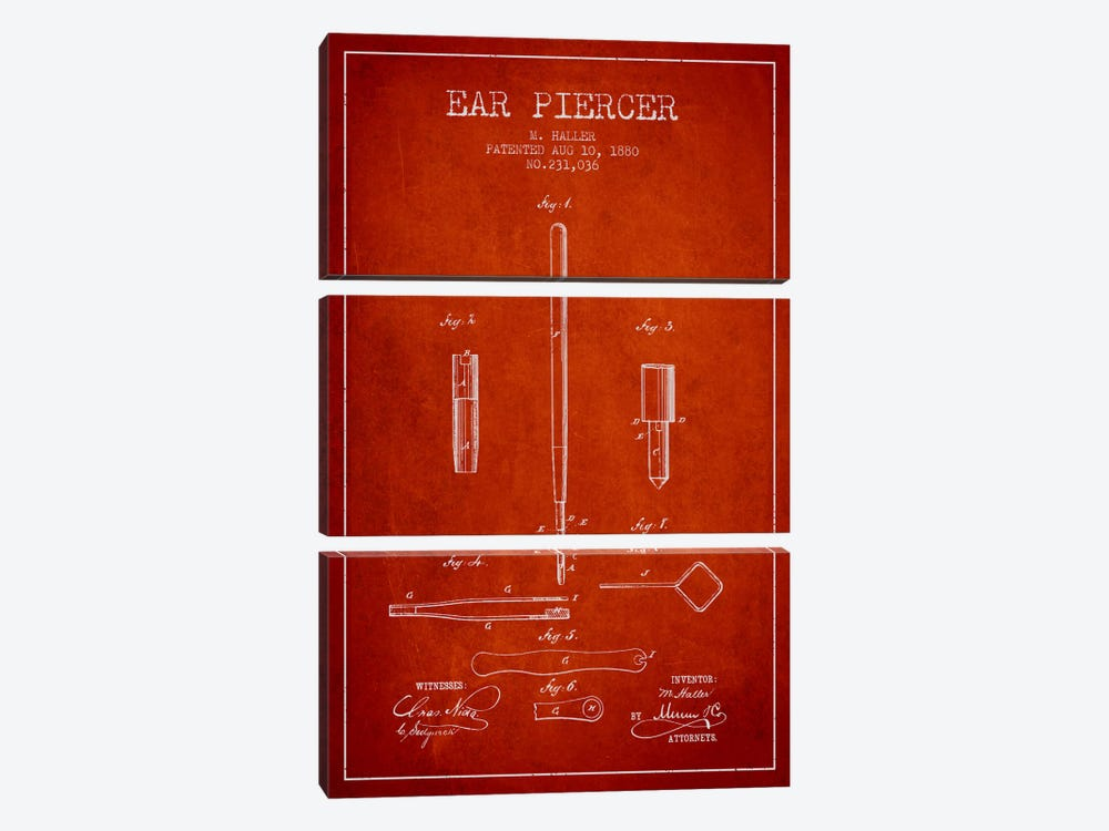 Ear Piercer Red Patent Blueprint by Aged Pixel 3-piece Canvas Art Print
