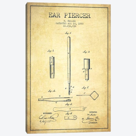 Ear Piercer Vintage Patent Blueprint Canvas Print #ADP1904} by Aged Pixel Canvas Wall Art