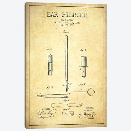 Ear Piercer Vintage Patent Blueprint Canvas Print #ADP1904} by Aged Pixel Canvas Wall Art