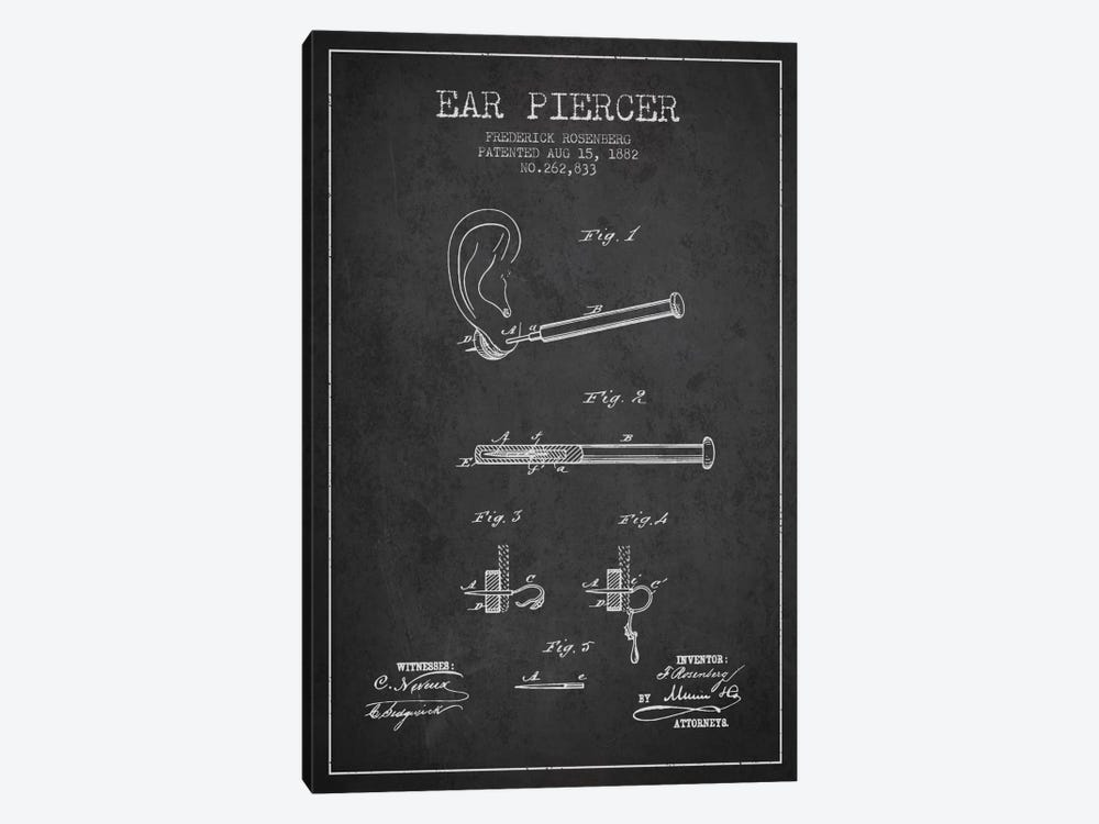 Ear Piercer 2 Charcoal Patent Blueprint by Aged Pixel 1-piece Canvas Print