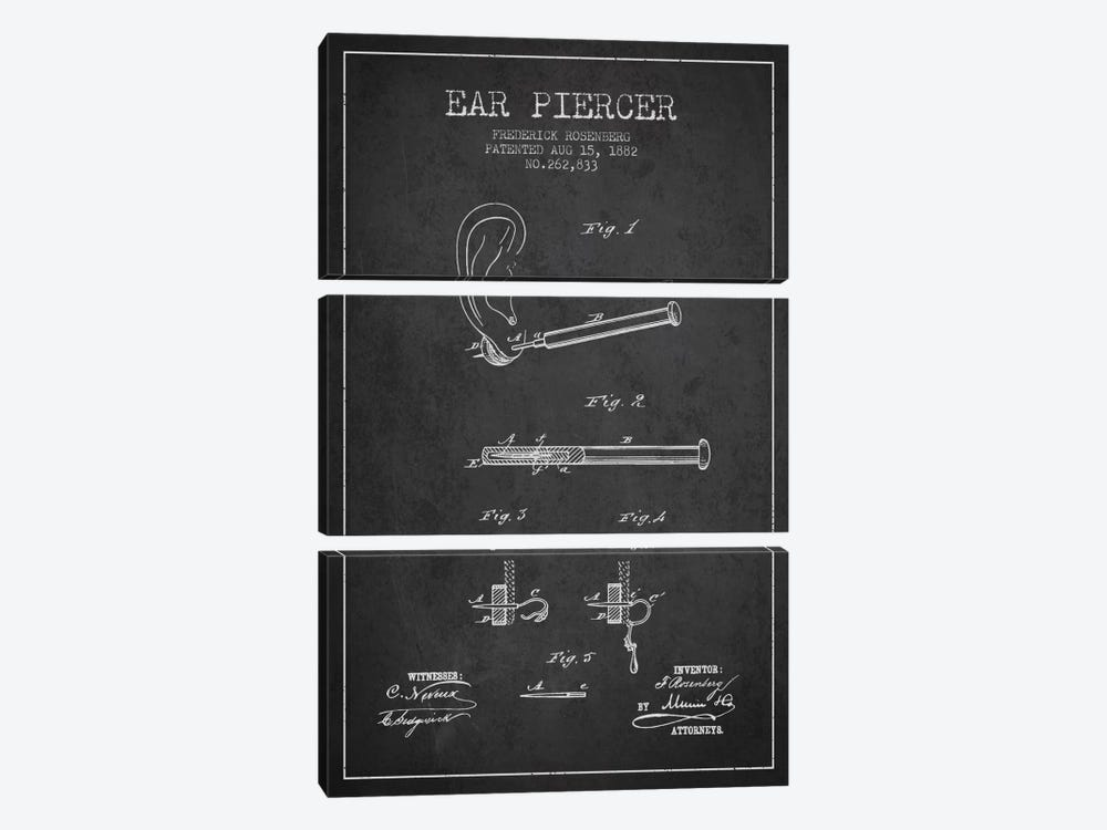 Ear Piercer 2 Charcoal Patent Blueprint by Aged Pixel 3-piece Canvas Art Print