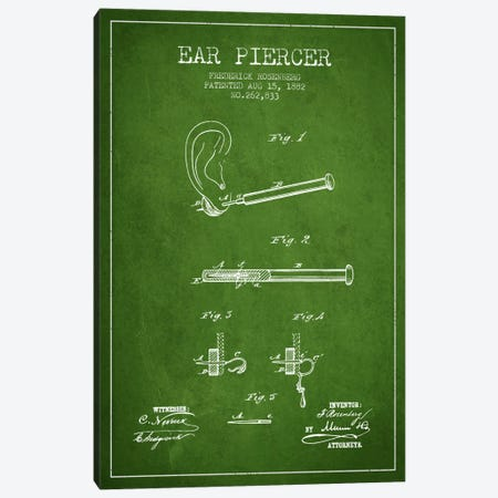 Ear Piercer 2 Green Patent Blueprint Canvas Print #ADP1906} by Aged Pixel Canvas Artwork