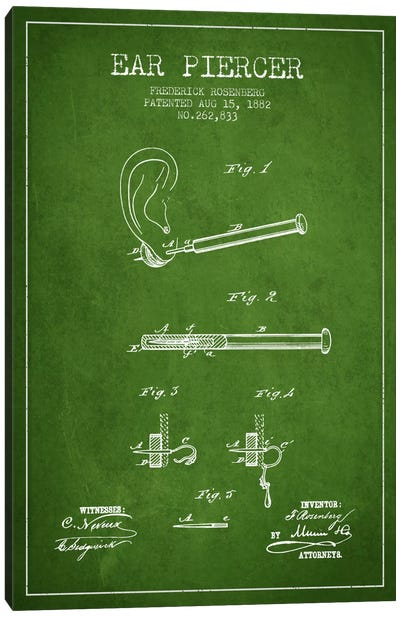 Ear Piercer 2 Green Patent Blueprint Canvas Art Print