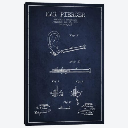 Ear Piercer 2 Navy Blue Patent Blueprint Canvas Print #ADP1907} by Aged Pixel Canvas Art