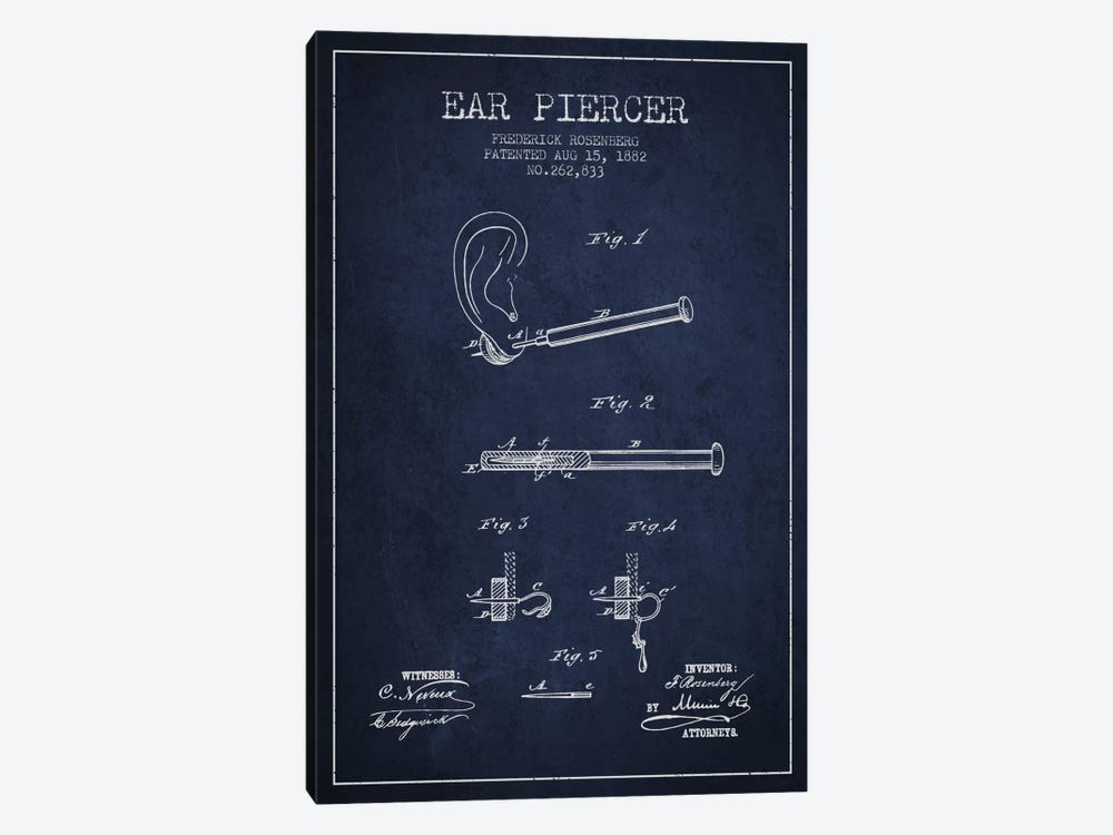 Ear Piercer 2 Navy Blue Patent Blueprint by Aged Pixel 1-piece Canvas Print
