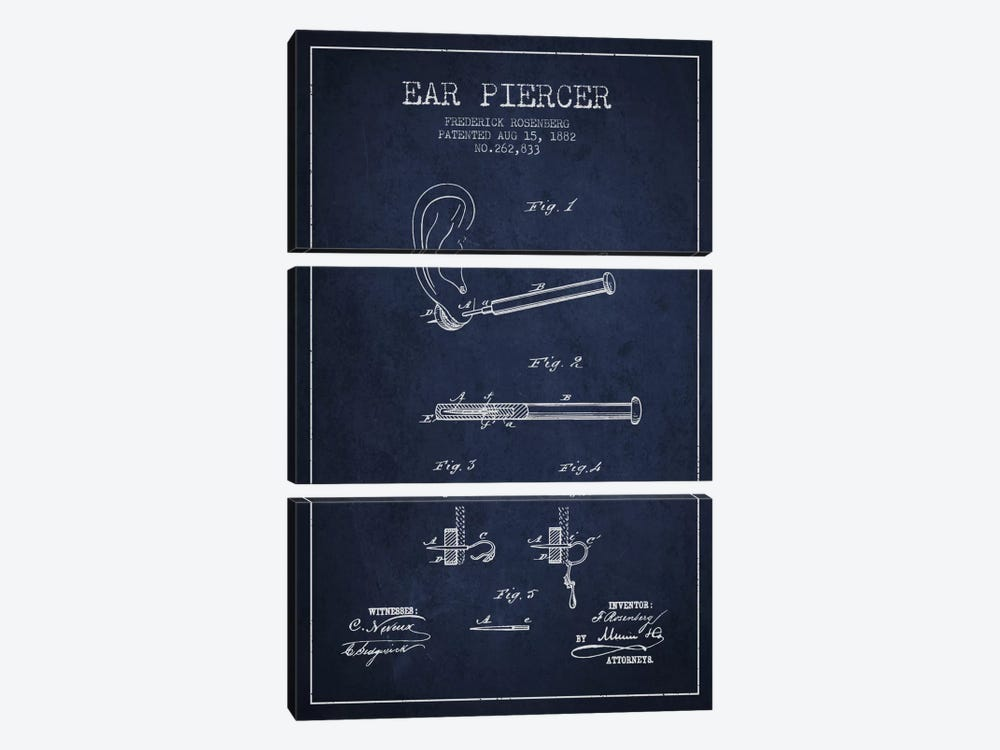 Ear Piercer 2 Navy Blue Patent Blueprint by Aged Pixel 3-piece Canvas Art Print