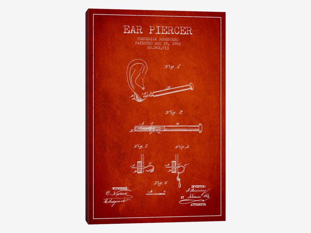 Ear Piercer 2 Red Patent Blueprint by Aged Pixel 1-piece Canvas Wall Art