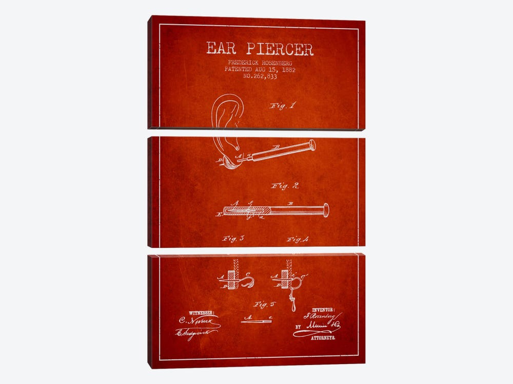 Ear Piercer 2 Red Patent Blueprint by Aged Pixel 3-piece Canvas Art