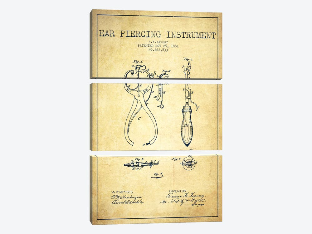 Ear Piercer 3 Vintage Patent Blueprint by Aged Pixel 3-piece Canvas Print