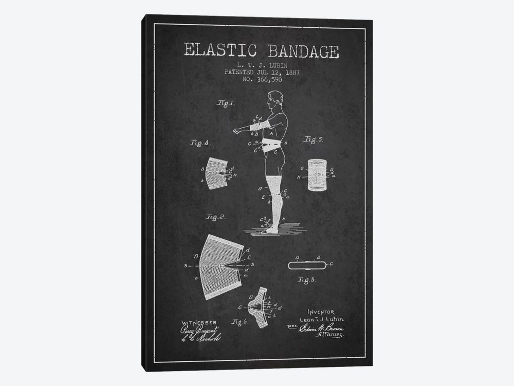 Elastic Bandage Charcoal Patent Blueprint by Aged Pixel 1-piece Canvas Wall Art