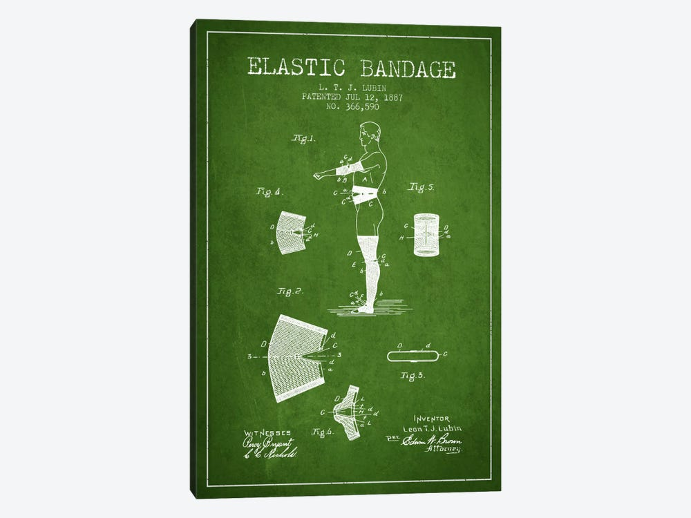 Elastic Bandage Green Patent Blueprint by Aged Pixel 1-piece Canvas Print