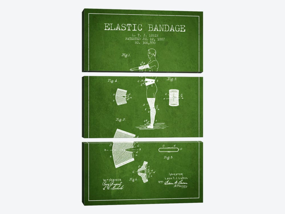 Elastic Bandage Green Patent Blueprint by Aged Pixel 3-piece Canvas Art Print