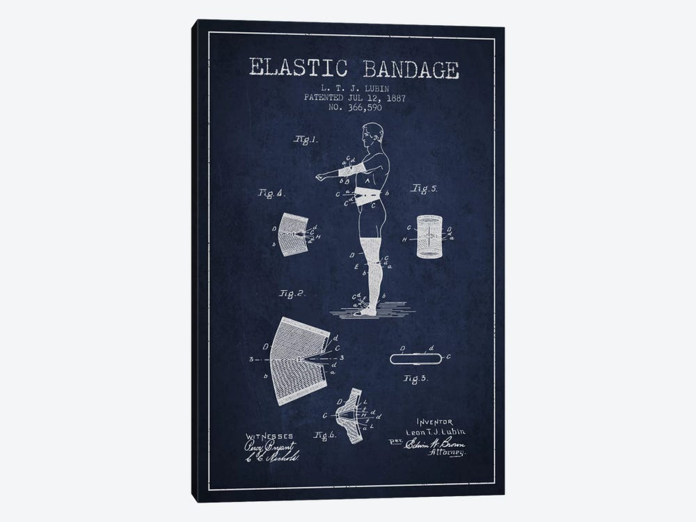 Elastic Bandage Navy Blue Patent Blueprint by Aged Pixel 1-piece Canvas Wall Art
