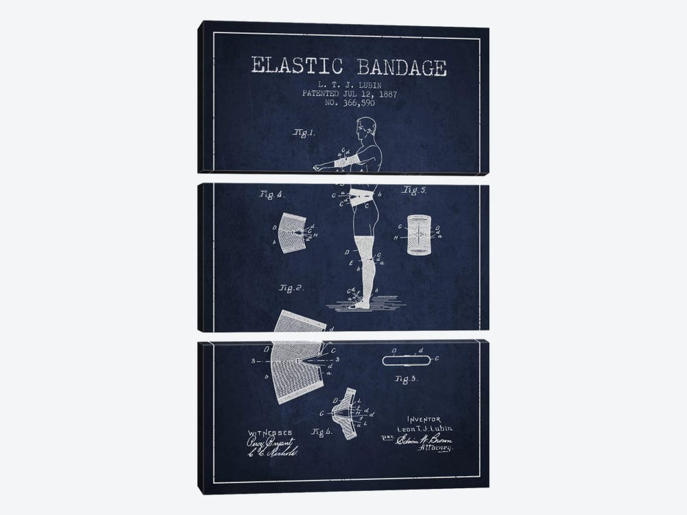 Elastic Bandage Navy Blue Patent Blueprint by Aged Pixel 3-piece Canvas Wall Art