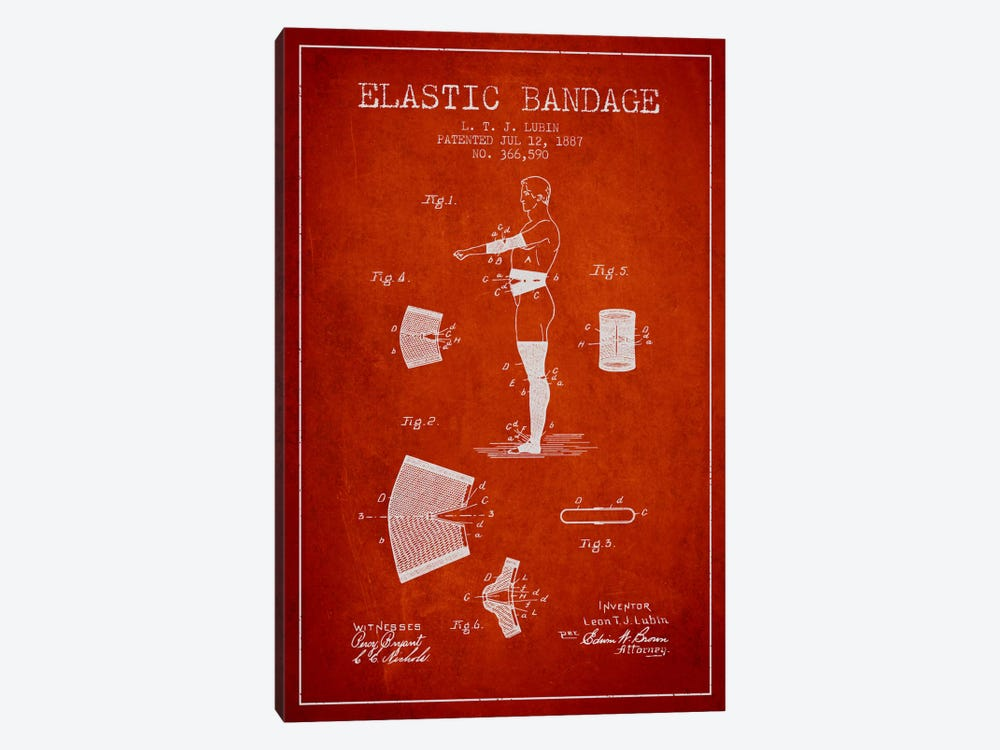 Elastic Bandage Red Patent Blueprint 1-piece Art Print