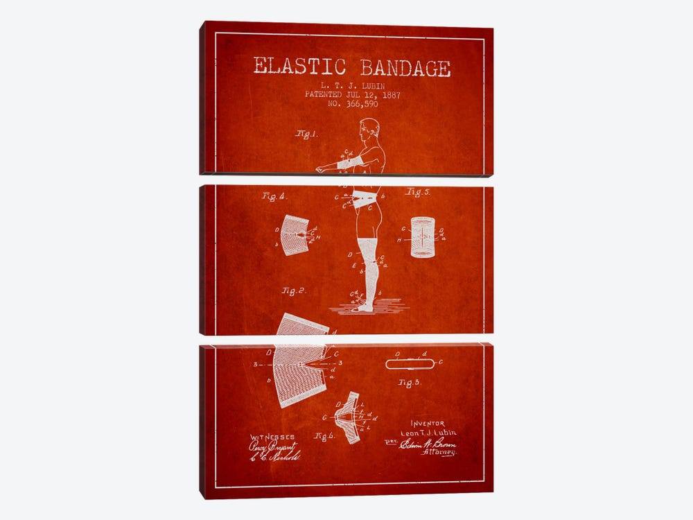 Elastic Bandage Red Patent Blueprint 3-piece Canvas Print