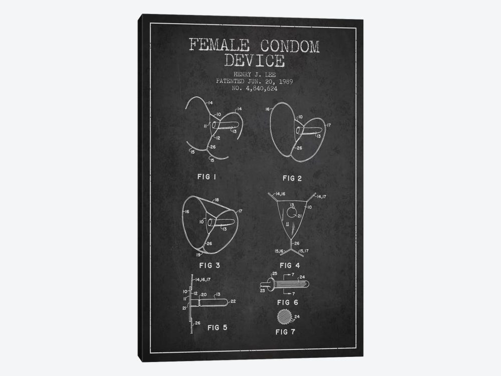 Female Condom Charcoal Patent Blueprint by Aged Pixel 1-piece Canvas Art