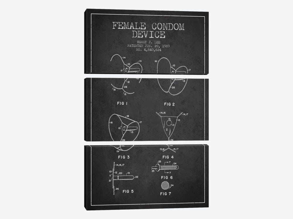 Female Condom Charcoal Patent Blueprint by Aged Pixel 3-piece Canvas Wall Art