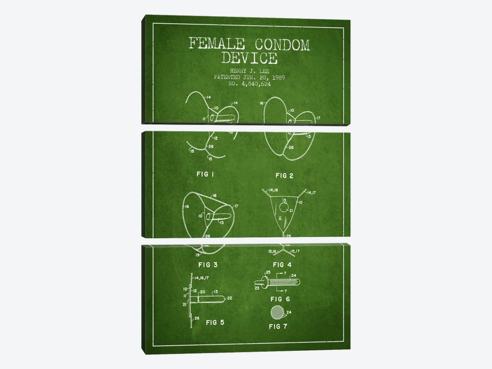 Female Condom Green Patent Blueprint by Aged Pixel 3-piece Art Print