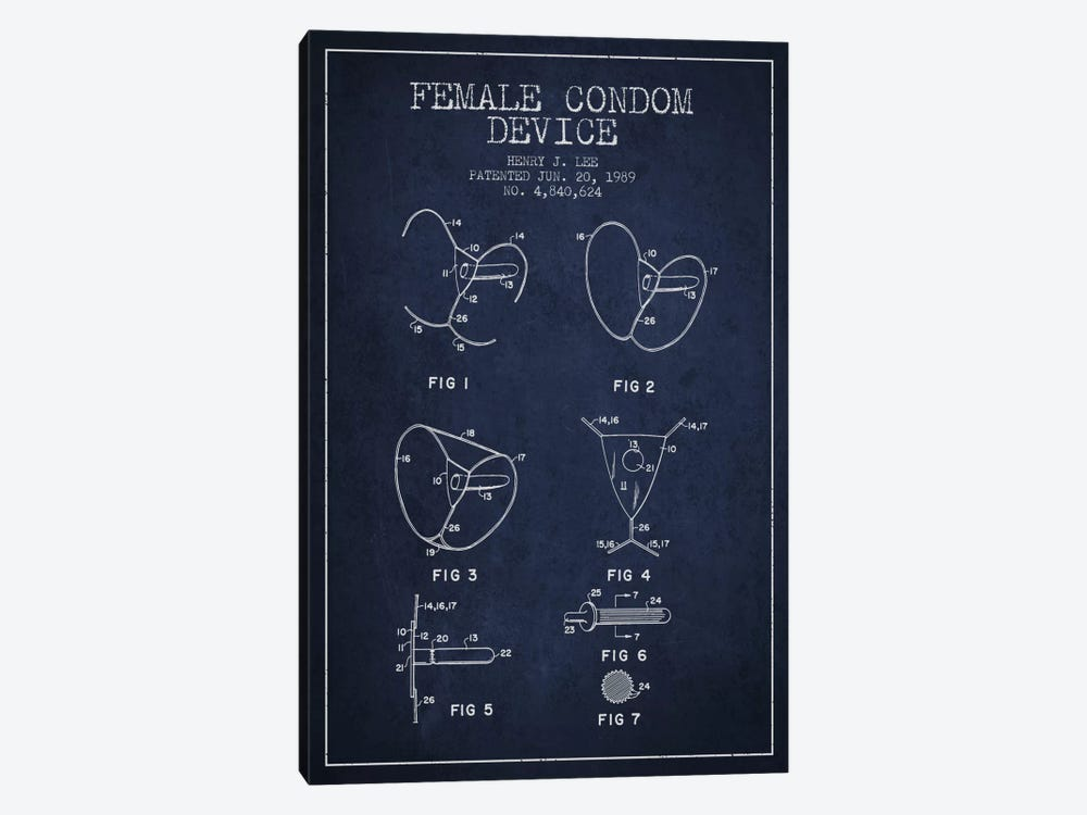 Female Condom Navy Blue Patent Blueprint by Aged Pixel 1-piece Canvas Art