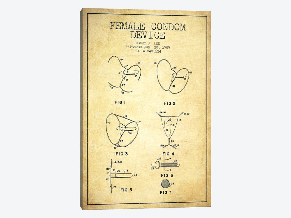 Female Condom Vintage Patent Blueprint by Aged Pixel 1-piece Canvas Art