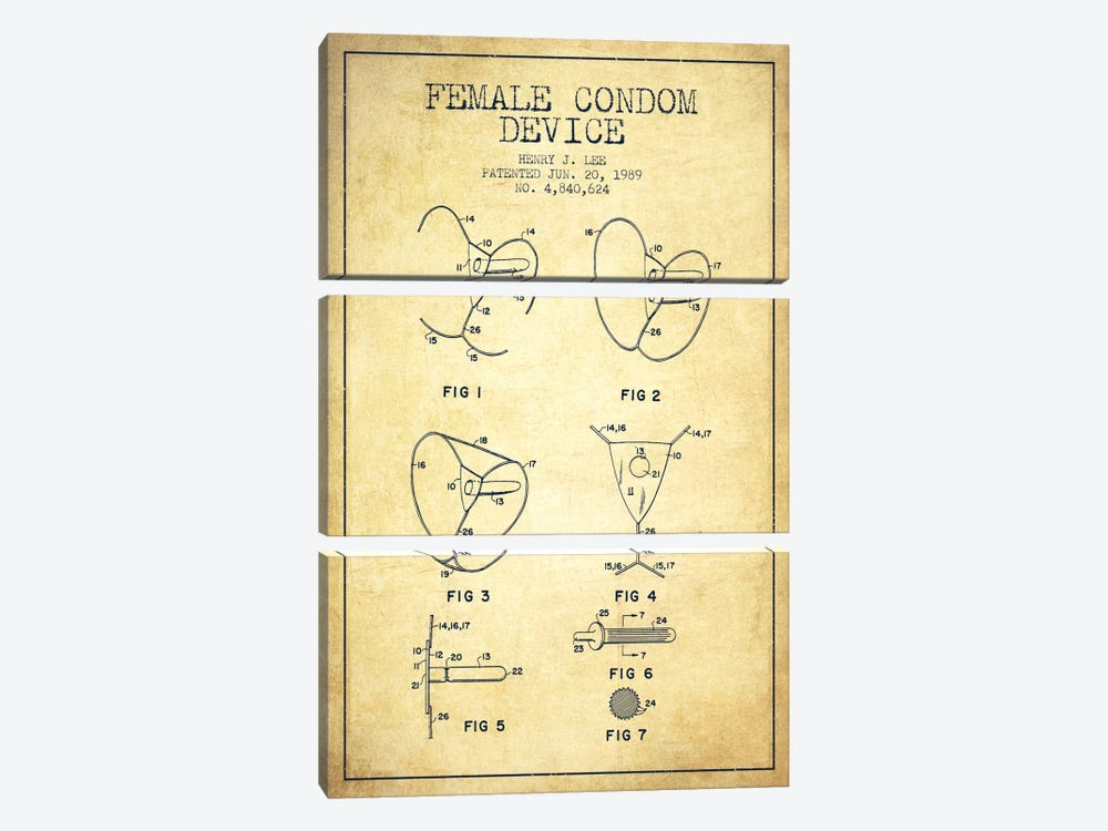 Female Condom Vintage Patent Blueprint by Aged Pixel 3-piece Canvas Artwork
