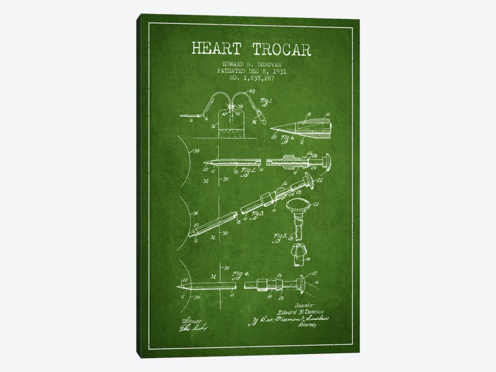 Heart Trocar Green Patent Blueprint by Aged Pixel 1-piece Canvas Wall Art