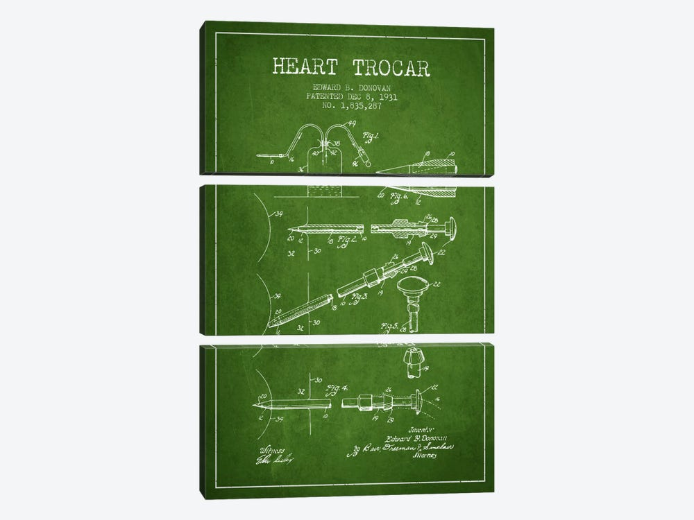 Heart Trocar Green Patent Blueprint by Aged Pixel 3-piece Canvas Artwork