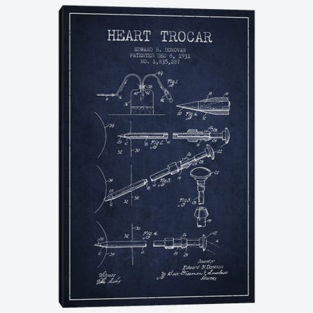 Heart Trocar Navy Blue Patent Blueprint Canvas Print #ADP1927} by Aged Pixel Canvas Wall Art