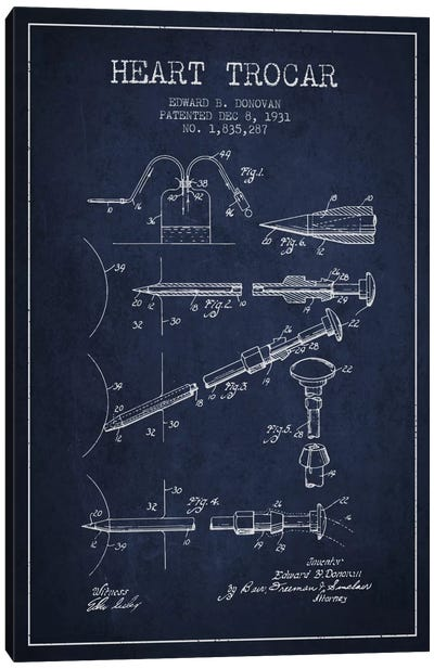 Heart Trocar Navy Blue Patent Blueprint Canvas Art Print